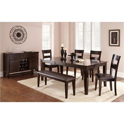 Steve Silver Company Victoria Rectangular Dining Table Set in Mango