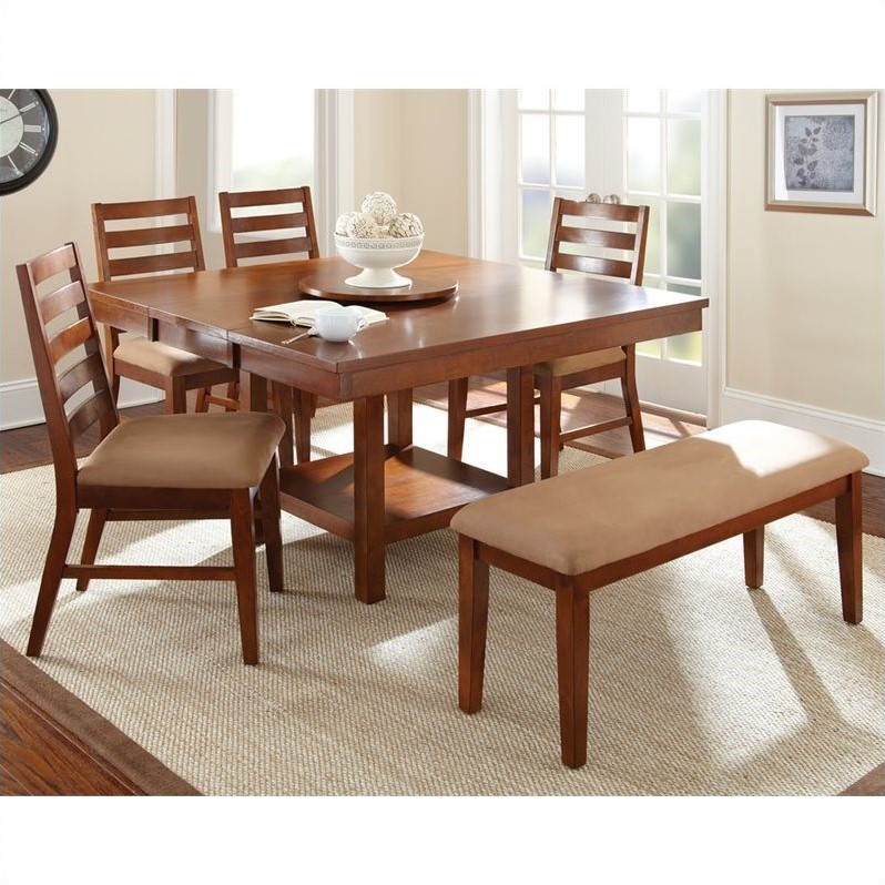 Steve Silver Company Eden 5 Piece Dining Table Set in Light Cherry