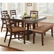 Steve Silver Company Eden 6 Piece Dining Table Set in Dark Cherry
