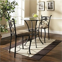 Steve Silver Company Brookfield 5 Piece Round Counter Dining Table in Dark Metal