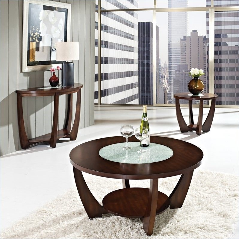 Steve Silver Company Rafael 3 Piece Cocktail Table Set in Cherry