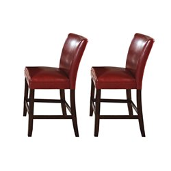 Steve Silver Hartford Leather Counter Stool in Red