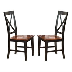 Steve Silver Kingston Dining Chair in Oak and Black