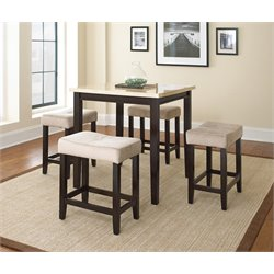 Steve Silver Aberdeen 5 Piece Counter Dining Set in Ivory Marble