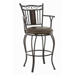 Steve Silver Barbara Leather Swivel Stool with Armrest