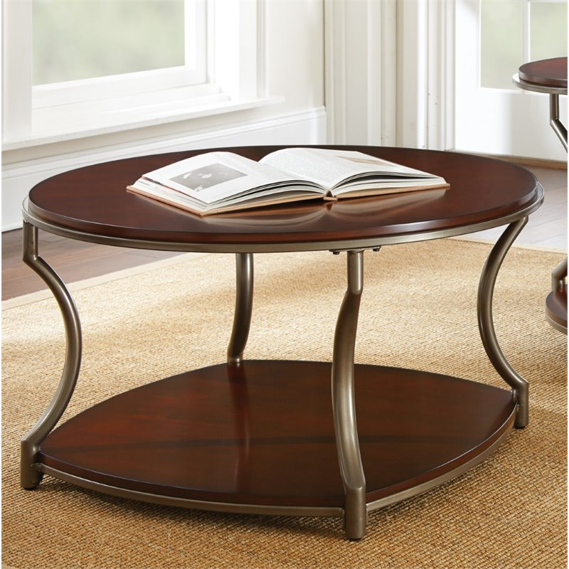 Steve silver maryland round coffee table in medium cherry wood ml200c Cherry wood coffee tables