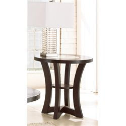 Steve Silver Alice Round Glass Top End Table in Espresso