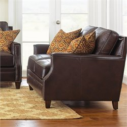 Steve Silver Caldwell Leather Loveseat with 2 Accent Pillows in Walnut