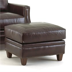 Steve Silver Caldwell Leather Ottoman in Santa Maria Walnut