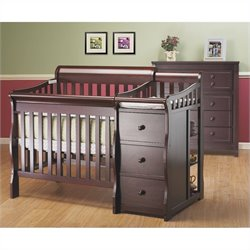 Sorelle Newport 3 in 1 Mini Convertible Crib & Changer Combo in Merlot