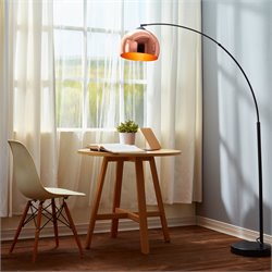 Versanora Arquer Arc Floor Lamp in Copper and Black