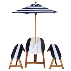 Teamson Kids Outdoor Table and Bench Set in Navy Blue and White