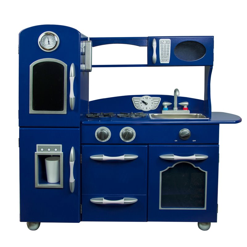 Teamson Kids 1 Piece Retro Wooden Play Kitchen In Navy Blue Td 11414b