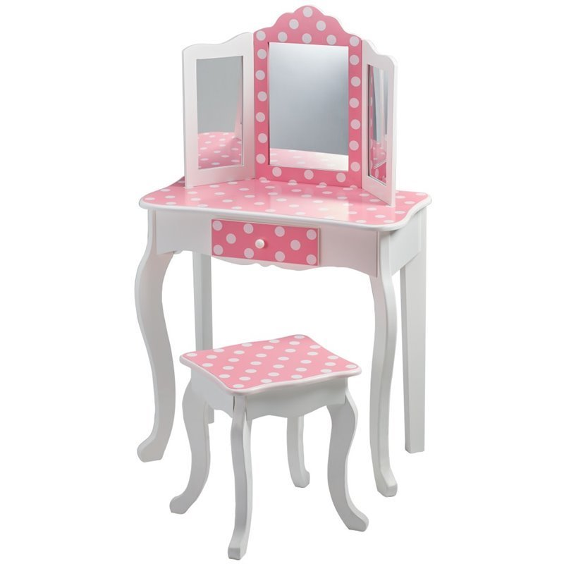 Teamson kids fashion prints polka dot vanity table and stool set td 11670f - Stool for vanity table ...
