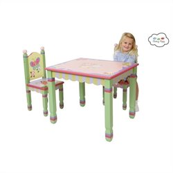 Fantasy Fields Hand Painted Magic Garden Table and Set of 2 Chairs