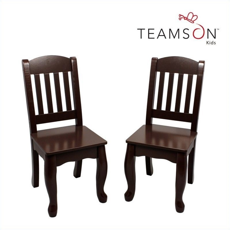 Teamson Kids Windsor Rectangular Table and Set of 2 Chairs in Espresso