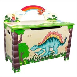 Fantasy Fields Hand Carved Dinosaur Kingdom Toy Chest