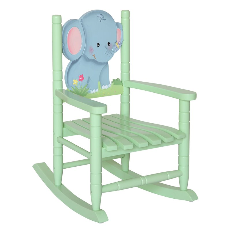 Teamson Kids Safari Kids Wooden Elephant Rocking Chair