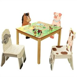 Fantasy Fields Hand Painted Happy Farm Table and Set of 4 Chairs