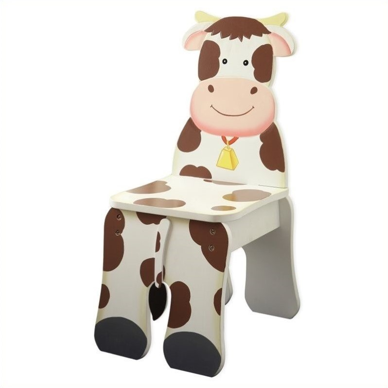 Fantasy Fields Hand Painted Happy Farm Chair in Cow