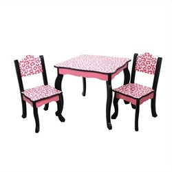 Teamson Kids Table and Chair Sets in Black and Pink Leopard