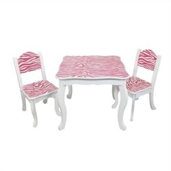 Teamson Kids Table and Chair Sets in White and Pink Zebra