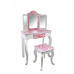 Teamson Kids Zebra Vanity Table and Stool Set in White and Pink