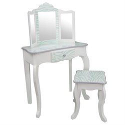 Teamson Kids Fashion Prints Vanity Table Stool Set with Mirror Zebra in Blue and White