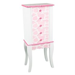 Teamson Kids Fashion Prints Jewelry Armoire Giraffe in Baby Pink and White