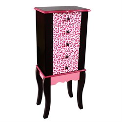 Teamson Kids Fashion Prints Kids Jewelry Armoire in Pink and Black