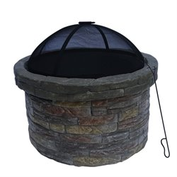 Teamson Peaktop Round Stone Fire Pit with Cover