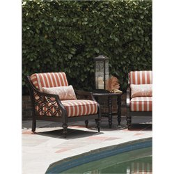 Tommy Bahama Black Sands Patio Lounge Chair in Orange and Taupe Stripe