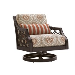 Tommy Bahama Black Sands Patio Swivel Lounge Chair in Taupe Pattern