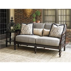 Tommy Bahama Black Sands Patio Loveseat in Taupe Geometric