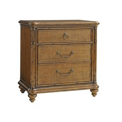 Tommy Bahama Bali Hai Sojourn 3 Drawer Nightstand in Warm Brown