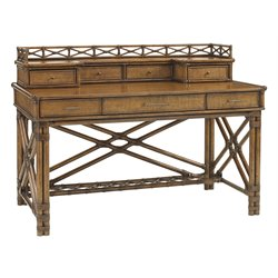Tommy Bahama Bali Hai Enchanted Isle Desk with Hutch in Warm Brown