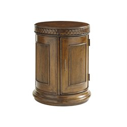 Tommy Bahama Bali Hai Belize Round End Table in Warm Brown