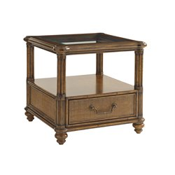 Tommy Bahama Bali Hai Bimini Square End Table in Warm Brown