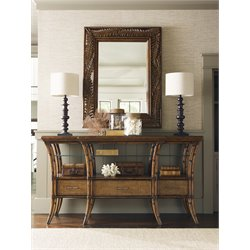 Tommy Bahama Bali Hai Sideboard with Mirror in Warm Brown