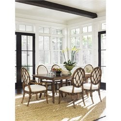 Tommy Bahama Bali Hai 7 Piece Dining Set in Warm Brown
