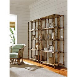 Tommy Bahama Twin Palms Seven Seas 4 Shelf Etagere in Brown