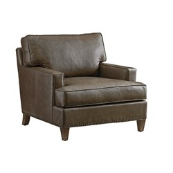 Tommy Bahama Cypress Point Hughes Leather Accent Chair in Gray