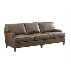 Tommy Bahama Cypress Point Hughes Leather Sofa in Gray
