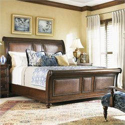 Tommy Bahama Home Landara Palmera Sleigh Bed in Rich Tobacco