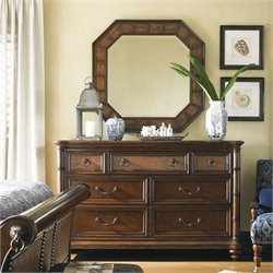Tommy Bahama Home Landara Dresser and Mirror in Rich Tobacco