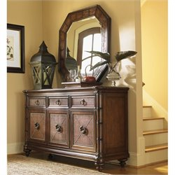 Tommy Bahama Home Landara Buffet and Mirror in Rich Tobacco