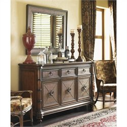 Tommy Bahama Home Landara Mirror and Buffet in Rich Tobacco