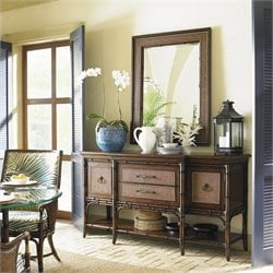 Tommy Bahama Home Landara Sideboard and Mirror in Rich Tobacco