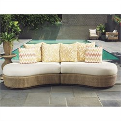 Tommy Bahama Home Aviano Wicker Armless Sectional in Papaya