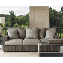 Tommy Bahama Home Blue Olive Wicker Sofa with Scatterback Cushions in Gray Taupe